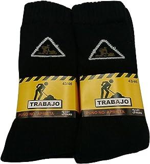 PROMOPACK - 6 PARES - Calcetines TRABAJO Puño antipress Hombre WORKS Socks MAN
