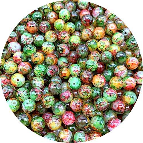 SAHFV 4 mm 6 mm 8 mm 10 mm Cuentas de Cristal Redondo Perlas Sueltas Bricolaje Pendientes de Bricolaje, Usado para decoración de Ropa, decoración del hogar (Color : 07, Item Diameter : 6mm 50pcs)