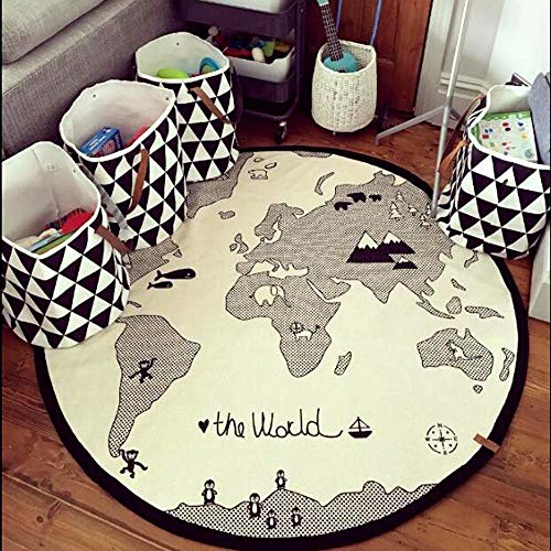 Baby Play Mat Round, Dyna-Living 53 Inches Cotton Adventure World Map Carpet Crawling Mats Game Blanket Floor Fun Gym Play Mat Infant Kid Round Rug (Thick)