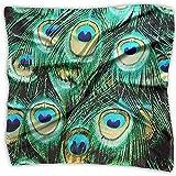 Uridy Pañuelo cuadrado pequeño de seda - Pañuelo ligero transpirable - Hermosas plumas de pavo real Pañuelo verde impreso digital
