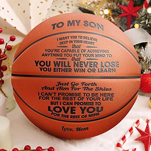 GadgetsTalk Engraved Basketball Gift - Unique Gifts for Son from MOM - You Will Never Lose - from MOM