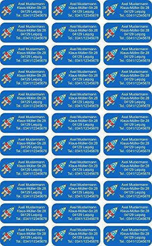 INDIGOS UG® Namensaufkleber Sticker - 56x23 mm - 108 - Rakete - 99 Stück für Kinder, Schule und Kindergarten - KITA Adressaufkleber für Stifte, Federmappen, Briefe, Einladungen