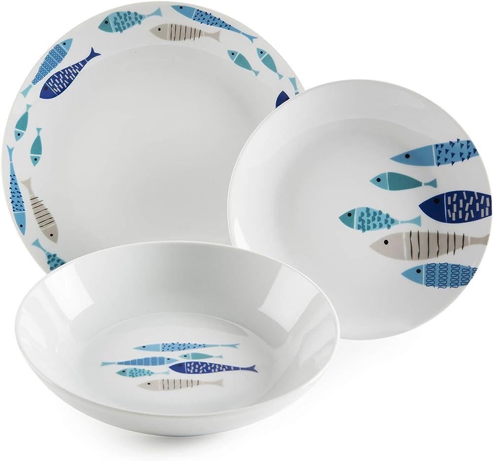 Excelsa ocean north sea, servizio di piatti da 18 pezzi, in porcellana 63409