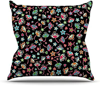 26 by 26 Kess InHouse Julia Grifol My Butterflies and Flowers in Black Throw Pillow