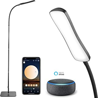 Smart Led Floor Lamp, GMK Smart Standing Lamp Works with Alexa, App Controlled 360° Rotate Gooseneck 12W Reading Lamp Step...