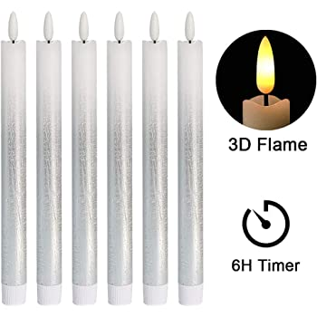10 Inch Tall 4 Pack Real Wax Flickering Warm White LED Lights Remote and Batteries Included Lamplust LC003715 Silver Flameless Taper Candles