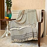 MOTINI Black and Beige Throw Blanket Hand Woven Striped Herringbone Knit Blankets and Throws with Fringe Tassel for Couch Sofa Bed, 100% Cotton, 50'x60'