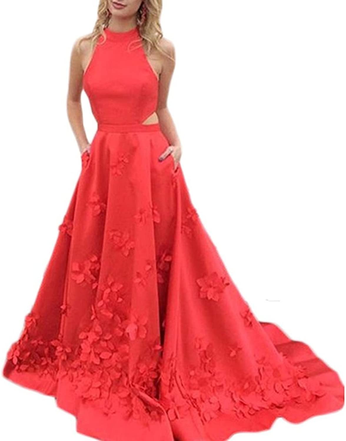 ALine High Neck Two Pieces Prom Dresses Long Celebrity Red Carpet Gowns