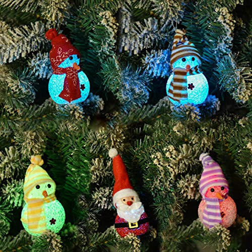 Fashlits Christmas Snowman Decorations Lights Kit, 5-Piece LED Flashing Christmas Hanging Snowman Ornaments for Home Christmas Tree Holiday Party Decor (Medium)