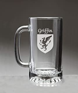 Griffin Irish Coat of Arms Glass Beer Mug (Sand Etched)