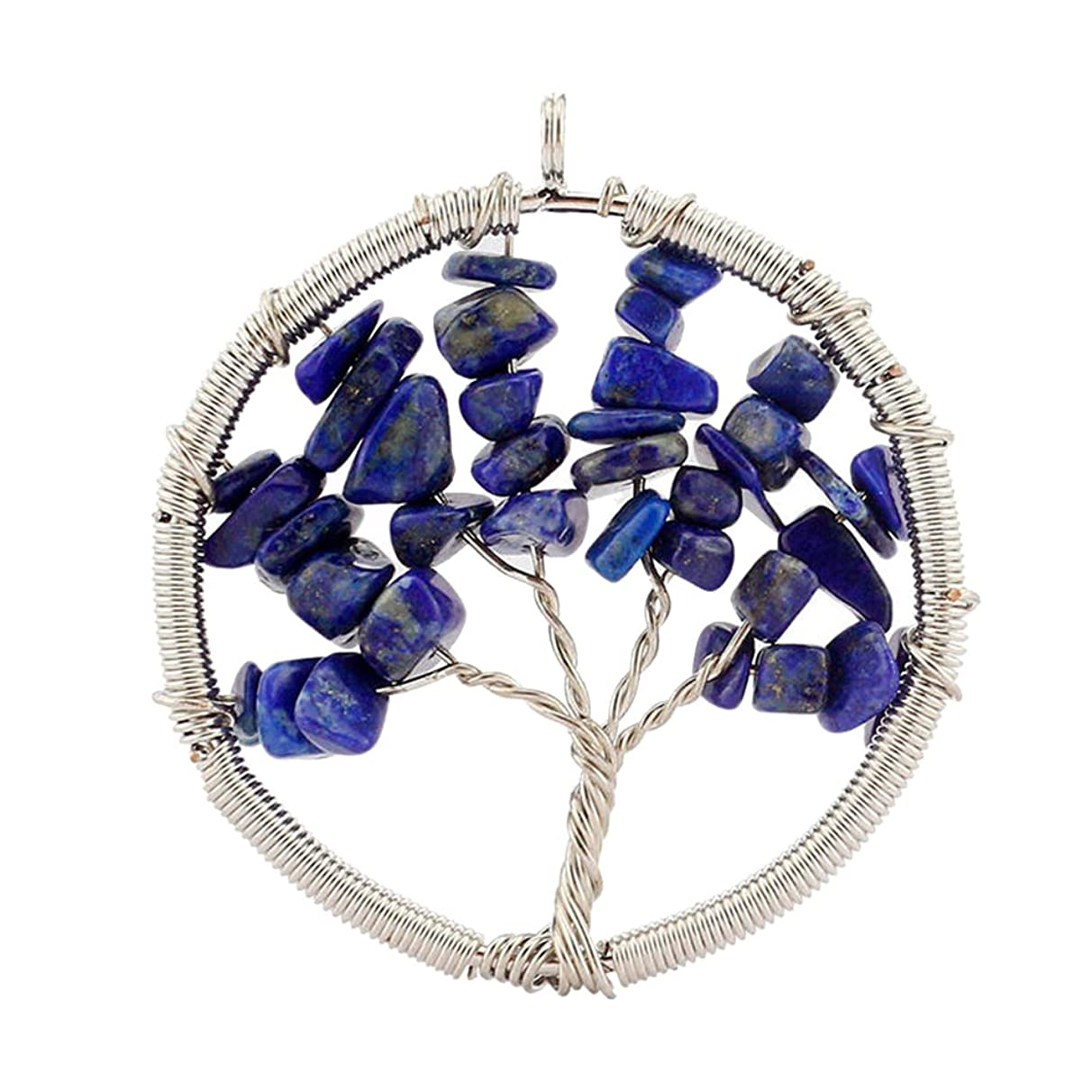 Happy Hours - Men's and Women's Handmade Round Tree Of Life Alloy Pendant with Charm Gravel / Unisex Natural Tumbled Gemstone Wire Wrapped Pendant Fit Necklace(Aventurine)