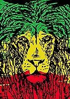 igsticker ポスター ウォールステッカー シール式ステッカー 飾り 841×1189㎜ A0 写真 フォト 壁 インテリア おしゃれ 剥がせる wall sticker poster 011947 レゲエ ライオン ラスタカラー