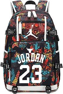 Mochila de baloncesto para estudiantes de Star Jordan, con carga USB, para la escuela, para viajes, para portátil