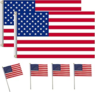 Ypser American US Flag - Grommets Double Stitched 3X5 Feet + Hand Flags for 2020 President Election 6Packs