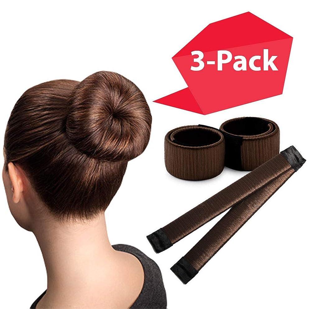 Brown Magic Bun Makers 3-PACK   The NEW way to Donut Your Hair   Perfect Hair Bun Maker   Hair Donuts for Updos   Easy Bun Hair Tool   Kids Ballerina Bun   Bun Shaper   Bun Hair Tool   Hair Bun Donut