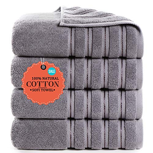 Luxury Premium Bath Towels 100% Cotton Hotel & Spa Towels Quick Dry, Highly Absorbent 28' x 55'' (Set of 4, Grey)