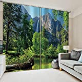WAFJJ Cortinas Opacas Bosque montañoso para Habitación con Ojales, Top Calitad para Salón Dormitorio Tamaño:2x117x229cm(An x Al)