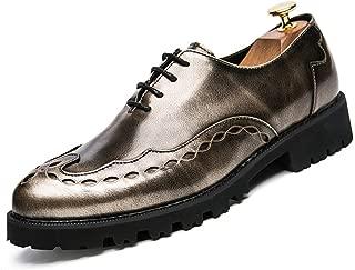 SHENLIJUAN Men's Oxfords Mirror PU Lace Design Flat Heel Lace Up Shoes