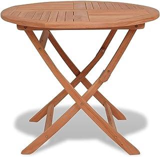 vidaXL Teck Massif Table à Dîner d'Extérieur Pliable Ronde Table de Jardin