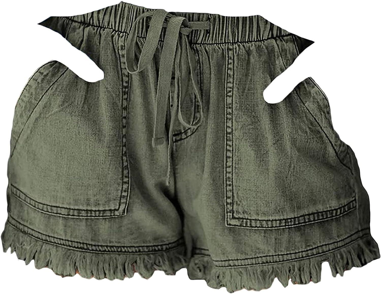 Women's Elastic Band Denim Shorts Drawstring Elastic Waist Raw Hem Short High Rise Slim Fit Casual Jean Hot Short Pants