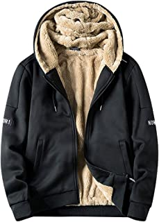 wuliLINL Men's Faux Fur Lined Hooded Coat Slim Spring Autumn Warm Thick Jacket Overcoat