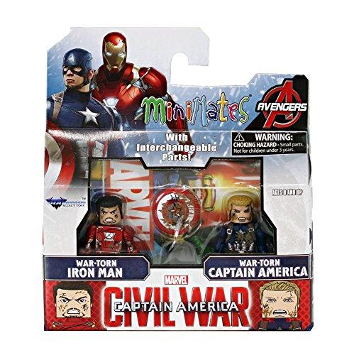 Minimates Captain America Civil War-War-Torn Iron Man & War-Torn Captain America