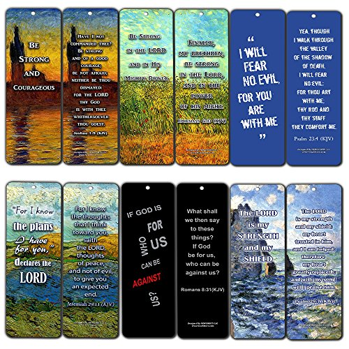 NewEights Christian KJV Bookmarks - Be Strong (12-Pack) - Collection Motivational of Bible Verses