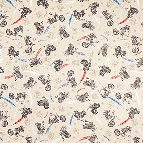 Dekostoff Halbpanama Motorräder — Meterware ab 0,5m — zum Nähen von Kinder Deko, Babydekoration & Kissen/Tagesdecken
