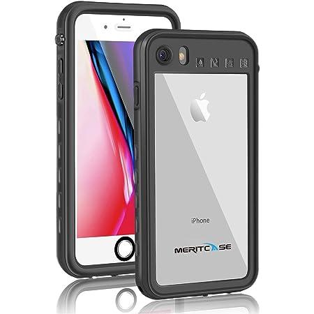 Meritcase 防水ケース 防水カバー 衝撃吸収 防雪 防塵 耐衝撃 IP68防水レベル 指紋認証対応 傷防止 ストラップ リング付き iPhone8 iPhone7 iPhoneSE(2020) ブラック(4.7インチ)