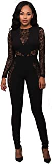 Women Long Sleeve Club Overalls Lace Bodycon Romper Party...