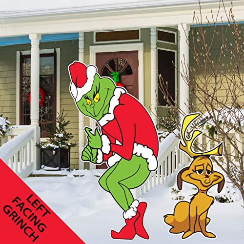 The Grinch with Max The Dog Stealing Christmas Lights Yard Art Lawn Decoration