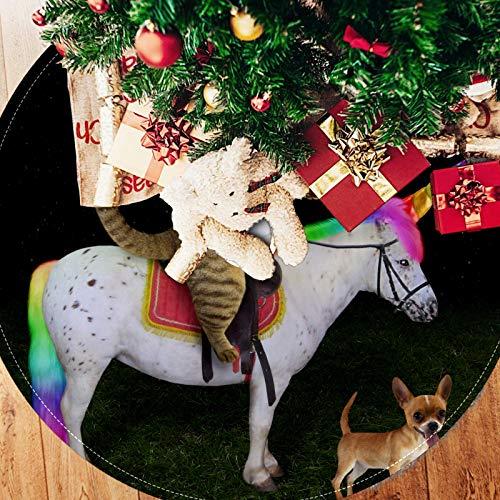 Bonipe - Falda para árbol de Navidad, 33 pulgadas, para montar a caballo, perro, estilo rústico, para decoración del hogar