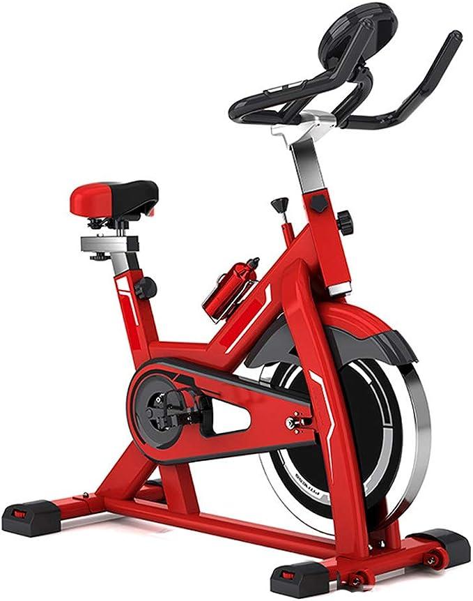 Bicicleta Spinning Profesional,Indoor Cycling LCD Pantalla Electronica Sensor de Frecuencia Cardiaca,Resistencia Variable Asiento y Manillar Ajustables Bicicleta Estatica load Capacity 150 (kg),Red: Amazon.es: Deportes y aire libre