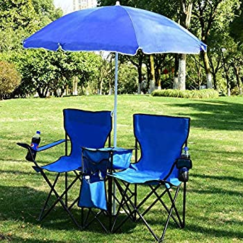 WUIIEN Foldable Picnic Beach Camping Double Chair+Umbrella Table Cooler Fishing Fold Up