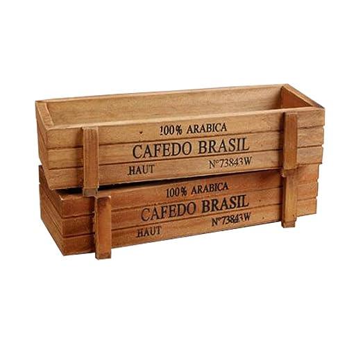 AmgateEu 2 pièces rustique rectangulaire jardinière en bois récipient plante pot