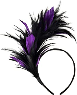 Feather Fascinator Headbands 1920's Prom Queen Headpiece for Special Events, Weddings
