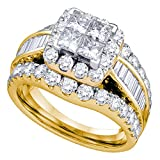Sonia Jewels Size 6-14k Yellow Gold Princess Cut Diamond Halo Cluster Bridal Wedding Band Engagement Ring 3.00 Cttw