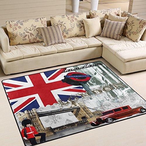naanle, britische Flagge, London Big Ben, rutschfest, Teppich für Wohnzimmer, Schlafzimmer, Küche, 50x 80cm (2x 2,6m, Big Ben, Teppich, Yoga-Matte, multi, 120 x 160 cm(4' x 5')