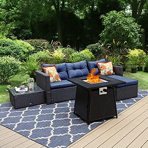 Sophia & William Patio Furniture Sectional Sofa Set with Gas Fire Pit Table 4 Piece Wicker Rattan Outdoor Conversation Sets W/Coffee Table, CSA Approved Propane Fire Pit (Navy Blue)