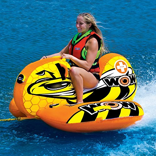 WOW World of Watersports Buzz Boat Cockpit 1 Person Inflatable Towable Cockpit Tube for Boating, 14-1040