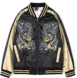 Embroidered Stand-Up Collar Jacket Casual Korean Fashion Bomber Jacket,Black,L