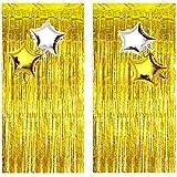 2 Cortinas De Malla Metálica, 4 Globos Decorativos, Cortinas De Papel De Aluminio, Adecuadas Para Decoración De Cumpleaños Artículos De Fiesta y Decoración Navideña De Bodas (Dorado)