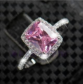 Zhiwen Charm Women 925 Silver Pink Sapphire Square & CZ Gemstone Rings Lady Bridal Wedding Engagement Jewelry Size 6-10 (US Code 7)