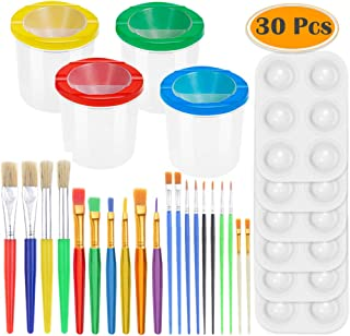 PAXCOO 30 Pcs Paint Cups with Lids No Spill Paint Cups with Paint Brushes and Paint Tray Palettes Cups for Watercolor Acrylic Art Class