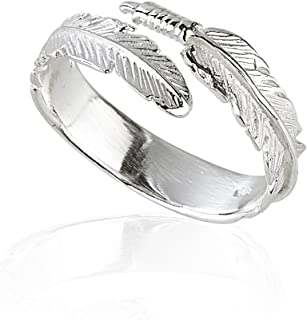 e8b875bee3 Solid 925 Sterling Silver Angel Wing Feather Adjustable Ring Size L-R Gift  Boxed