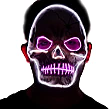 Halloween LED Scary Skull Mask,2019 Cool Costume Glow Latex Skull Mask,Light up Mask for Men,Women Festival Halloween Costume Party White,Purple