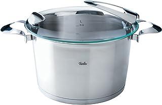 Fissler solea / Olla alta (6,5 litros Ø 24 cm) de acero inoxidable, con tapa de vidrio, función de vertido, para todo tipo de cocinas incluyendo la inducción