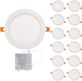 OSTWIN 8 inch 18W (90 Watt Repl.) IC Rated LED Recessed Low Profile Slim Round Panel Light with Junction Box, Dimmable, 5000K Daylight 1350 Lm. No Can Needed, 12 Pack ETL & Energy Star Listed