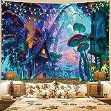 Tapiz psicodélico de setas, paisaje de bosque trippy colorido, surrealista, abstracto, arte de pared, diseño de hongos mágicos para colgar en la pared para dormitorio o apartamento, 78' x 59'