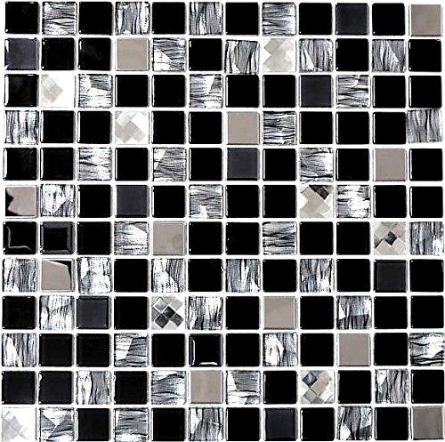Mosaik Fliese Transluzent Edelstahl schwarz Glasmosaik Crystal Stahl schwarz Glas für WAND BAD WC DUSCHE KÜCHE FLIESENSPIEGEL THEKENVERKLEIDUNG BADEWANNENVERKLEIDUNG Mosaikmatte Mosaikplatte